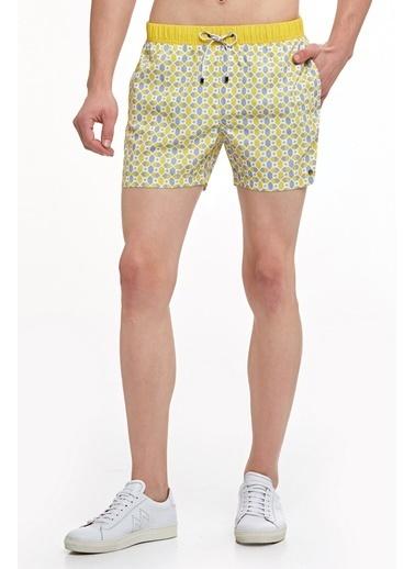 Hemington Hemington Erkek Heksagonal Desenli Quick Dry Mayo Sarı